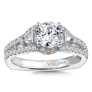 Diamond Engagement Ring Mounting in 14K White/Rose Gold with Platinum Head (0.515 ct. tw.)