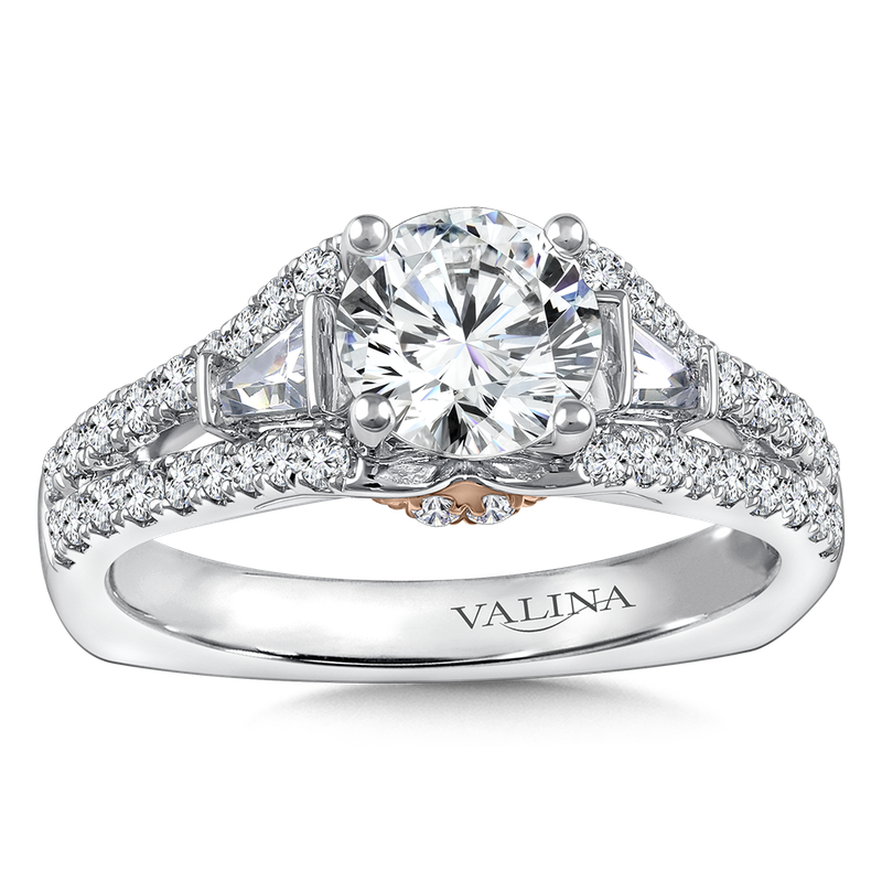 Valina Diamond Engagement Ring Mounting in 14K White/Rose Gold with Platinum Head (0.515 ct. tw.)