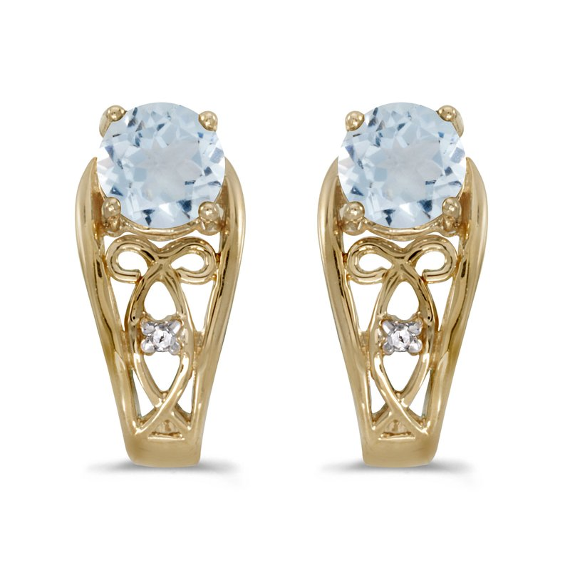 Color Merchants 14k Yellow Gold Round Aquamarine And Diamond Earrings