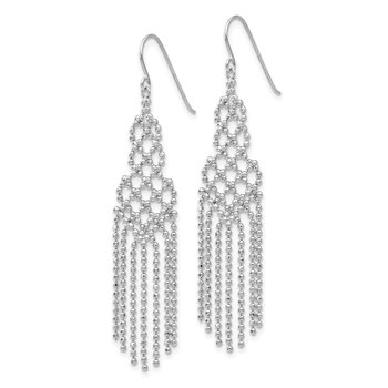 14K White Gold Beaded Earrings
