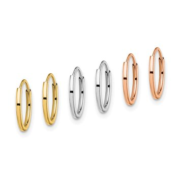 14K Tri Color 3-pair Hoop Earrings Set