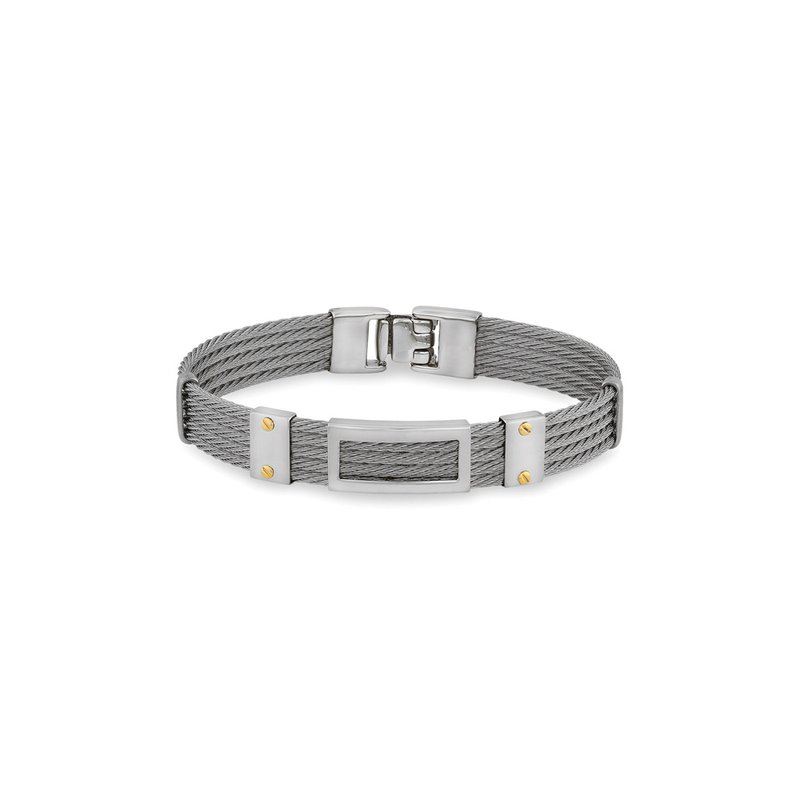 ALOR Grey Cable Bracelet with Framed Steel Rectangular Station & 18kt Yellow Gold