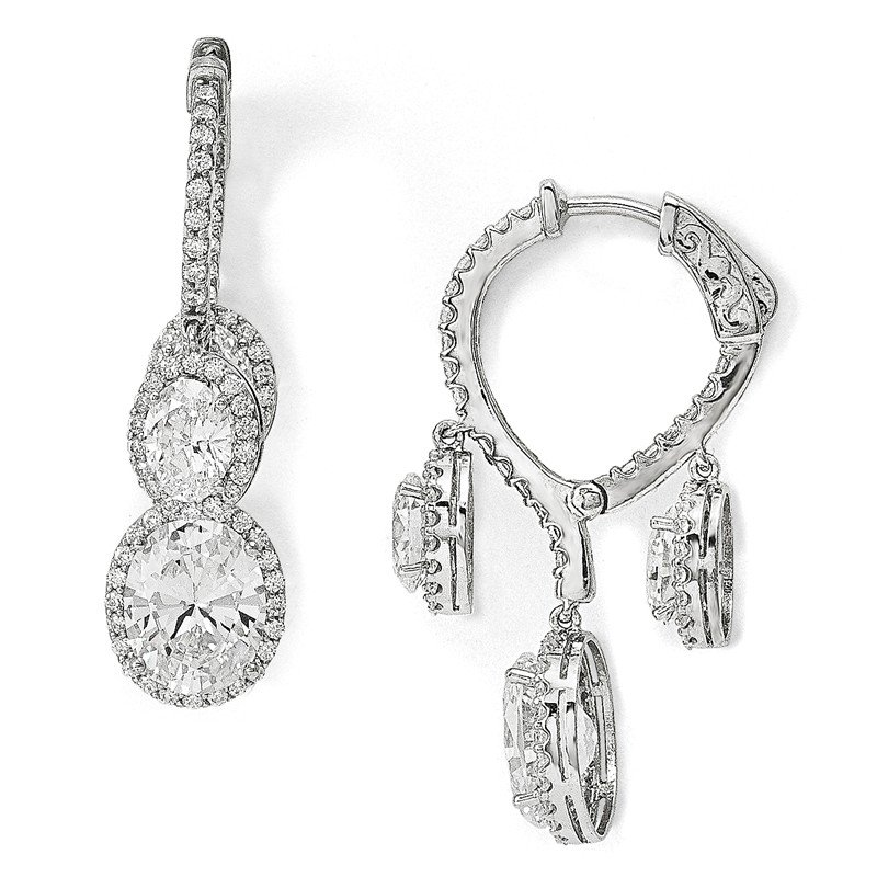 Quality Gold Sterling Silver Rhodium-plated CZ Fancy Dangle In & Out Earrings