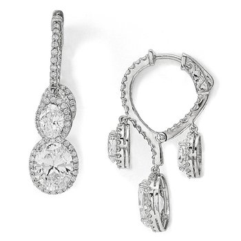 Sterling Silver Rhodium-plated CZ Fancy Dangle In & Out Earrings
