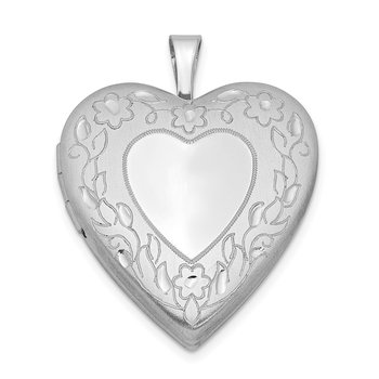 Sterling Silver Rhodium-plated 20mm Floral Border Heart Locket