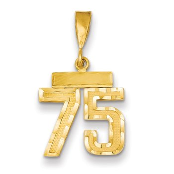 14k Small Diamond-cut Number 75 Charm