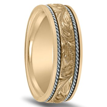 Hand Engraved Men's Two-Tone Wedding Band NT01707