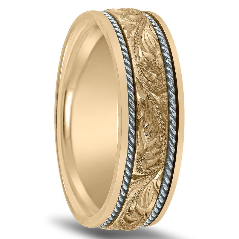 Novell Hand Engraved Men's Two-Tone Wedding Band NT01707