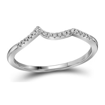 14kt White Gold Womens Round Diamond Contoured Enhancer Wedding Band 1/12 Cttw