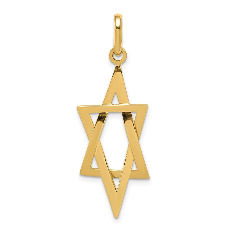 Quality Gold 14k Elongated Star of David Pendant