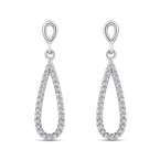 Essentials 10K White Gold 1/3 ct White Diamond Teardrop Dangle Earrings