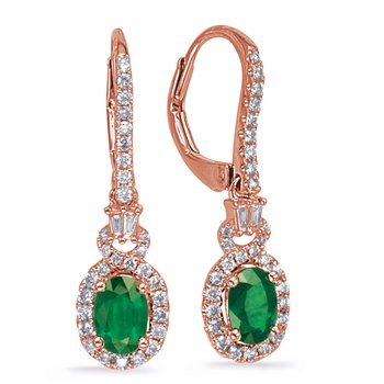 Rose Gold Emerald & Diamond Earring