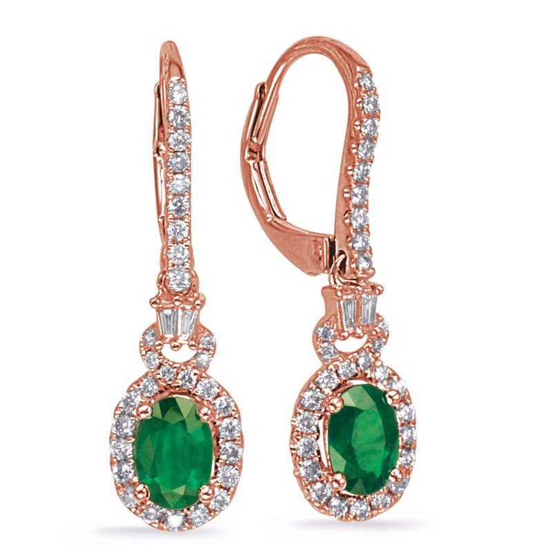 S. Kashi  & Sons Rose Gold Emerald & Diamond Earring