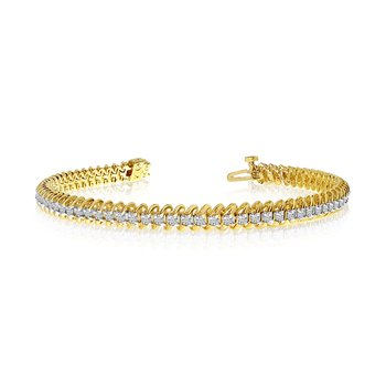 14k Yellow Gold S-Link Diamond Bracelet