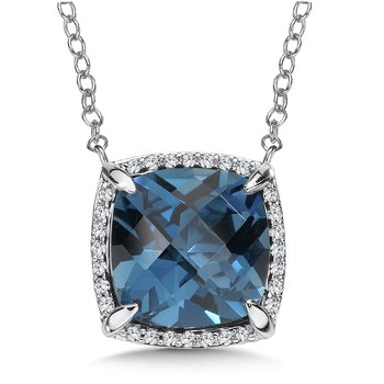 London Blue Topaz and Diamond Pendant in 14K White Gold