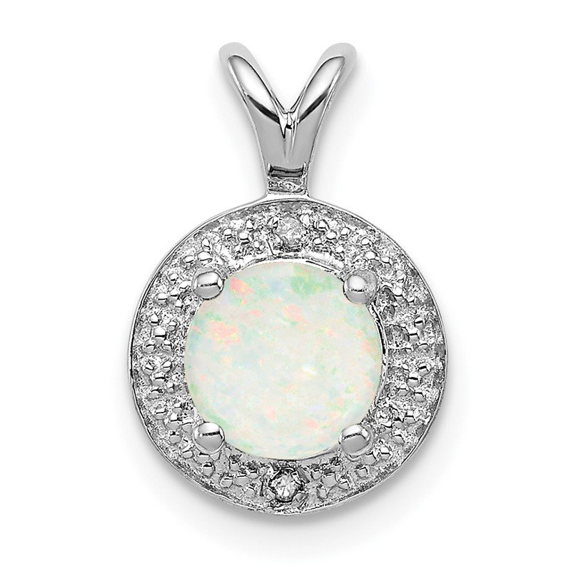 Quality Gold Sterling Silver Rhodium-plated Diam. & Created Opal Pendant
