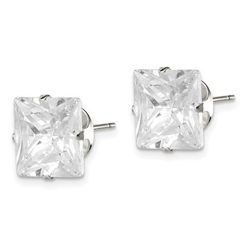 Sterling Silver 10mm Square Snap Set CZ Stud Earrings