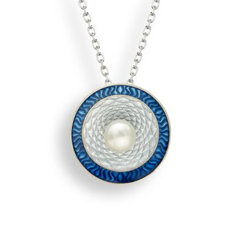 Blue Round Necklace.Sterling Silver-Freshwater Pearl