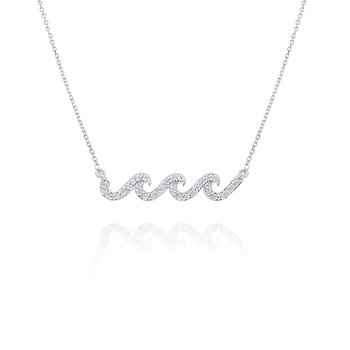 14k Gold and Diamond Wave Necklace, 16""