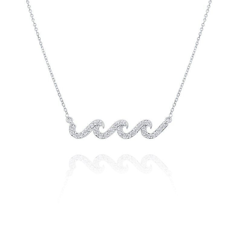 MAZZARESE Fashion 14k Gold and Diamond Wave Necklace, 16""
