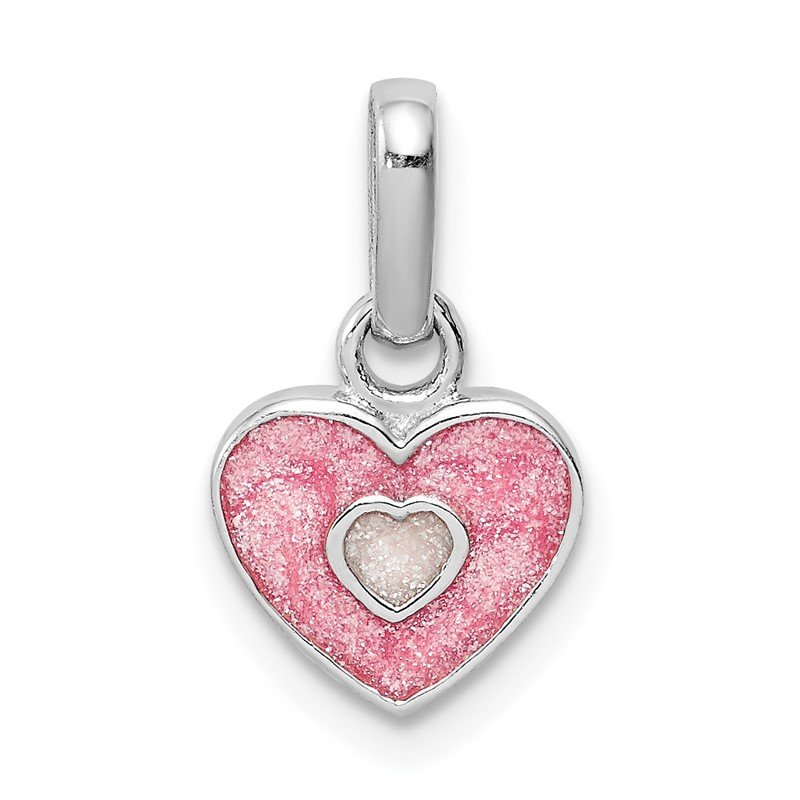 Quality Gold Sterling Silver RH Plated Child's Pink Glittered Enamel Heart Pendant