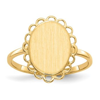 14k 12.0x9.0mm Open Back Signet Ring
