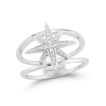 14K beautiful star ring with 25 Diamonds 0.11C