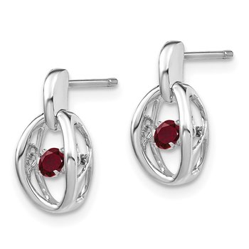 Sterling Silver Rhodium Created Ruby Birthstone Vibrant Earrings