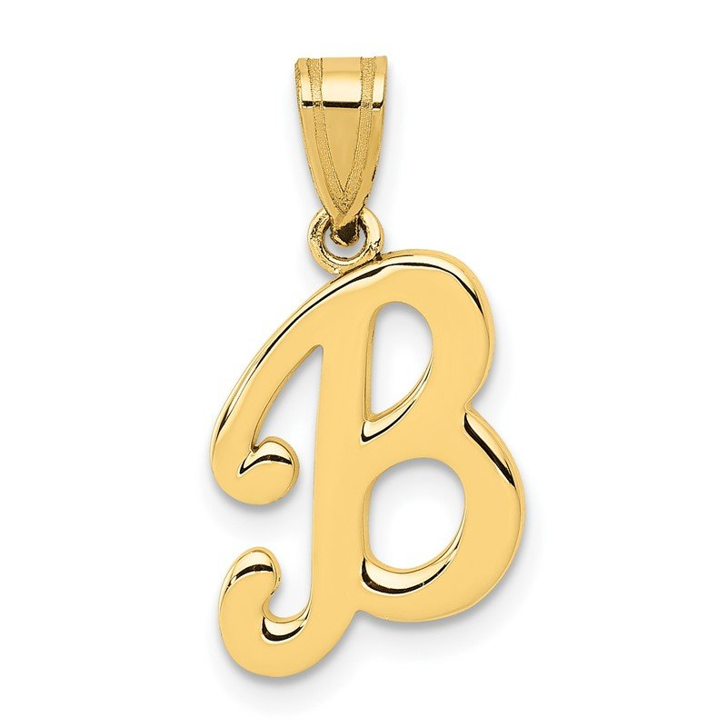 Quality Gold 14KY Script Letter B Initial Pendant