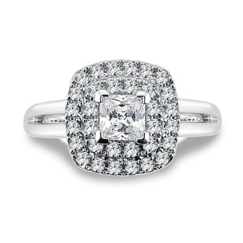 Halo Engagement Ring Mounting in 14K White Gold with Platinum Head (.38 ct. tw.)