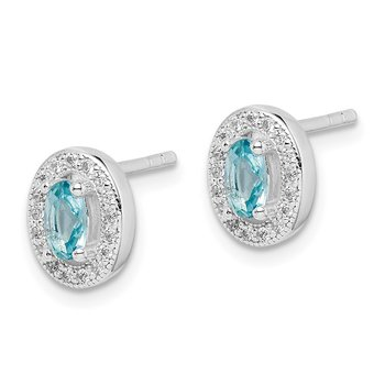 Sterling Silver Rhod-plated w/ Light Blue and White CZ Oval Earrings