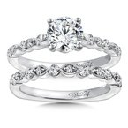 Diamond Engagement Ring Mounting in 14K White Gold with Platinum Head (.29 ct. tw.)