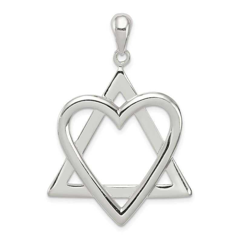 Quality Gold Sterling Silver Star of David Heart Pendant