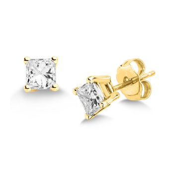 Four Prong Princess cut Diamond Studs in 14k yellow Gold Screw-back posts (3/4ct. tw.)