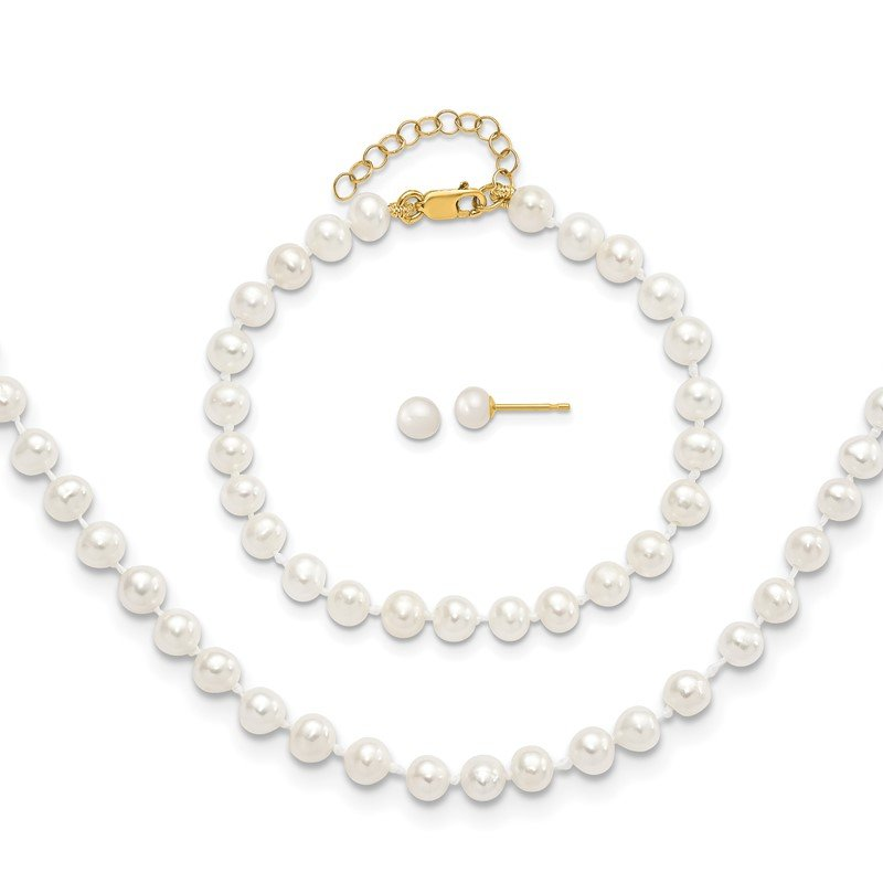 Quality Gold 14k 4-5mm FW Cultured Pearl 5 w/1 ext Bracelet 14 w/1 ext Neck Earring Set