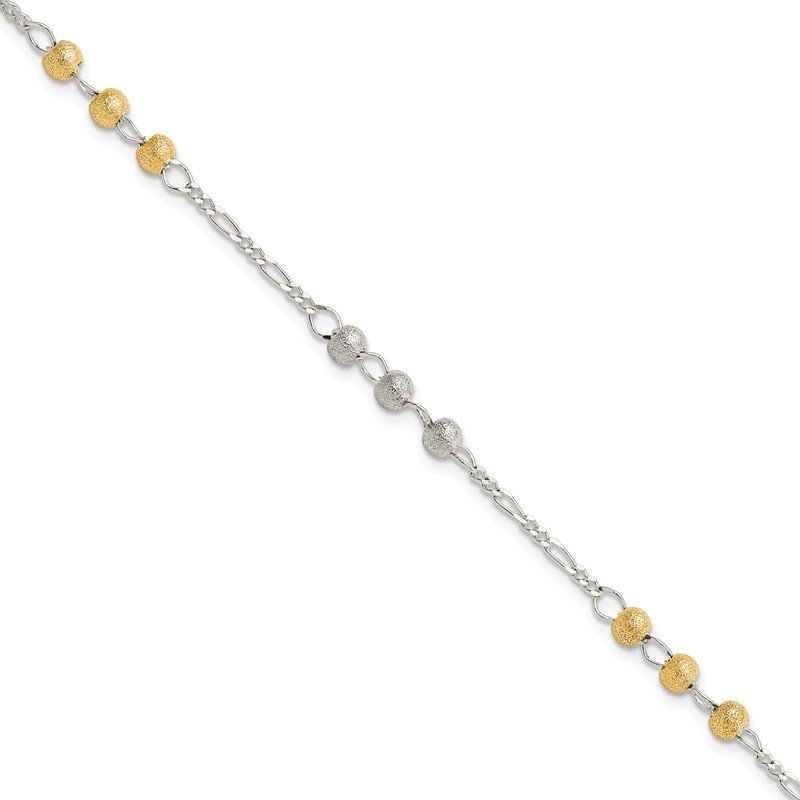 Quality Gold Sterling Silver Gold-tone Textured Beaded Bracelet