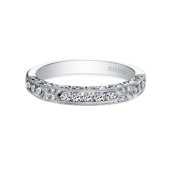 Engraved Vintage Diamond Wedding Band