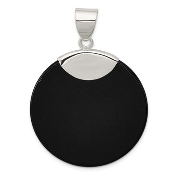 Sterling Silver Round Black Onyx Pendant