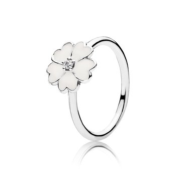 Primrose Stackable Ring, White Enamel
