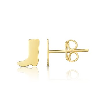 14K Gold Cowboy Boot Stud Earrings