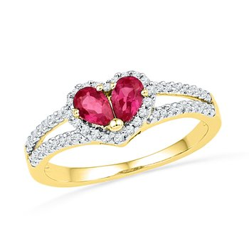 10kt Yellow Gold Womens Pear Lab-Created Ruby Heart Split-shank Ring 3/4 Cttw