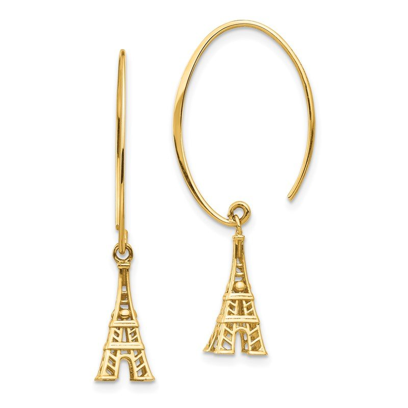 Quality Gold 14K Eiffel Tower Dangle Earrings