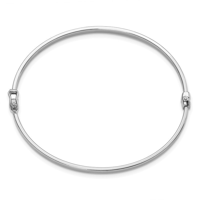Leslie's Italian Gold Leslie's 14K White Gold Polished Hinged Bangle