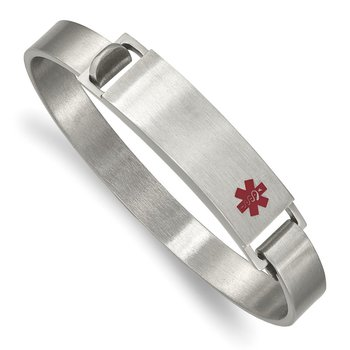 Stainless Steel Brushed w/ Red Enamel 8.00mm Medical ID Bangle
