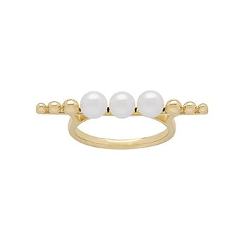 Honora 14KY 4.5-5mm White Round Freshwater Culture Pearl Pebble Bar Ring