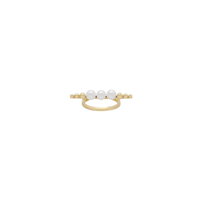 Honora Honora 14KY 4.5-5mm White Round Freshwater Culture Pearl Pebble Bar Ring