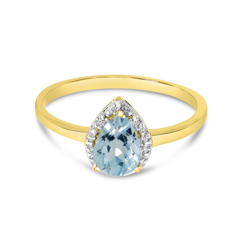 Color Merchants 10k Yellow Gold Pear Aquamarine And Diamond Ring