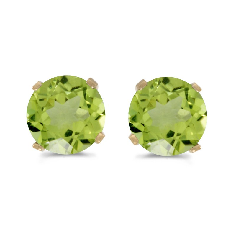Color Merchants 5 mm Natural Round Peridot Stud Earrings Set in 14k Yellow Gold