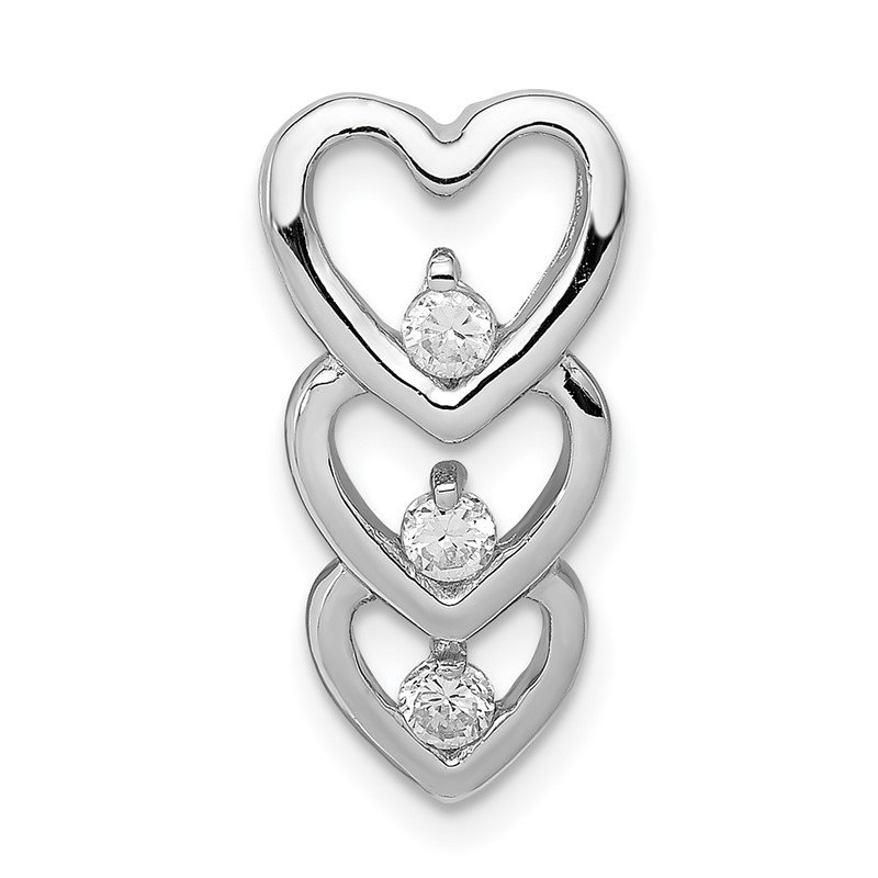 Quality Gold Sterling Silver Rhodium Plated CZ Multi Hearts Chain Slide