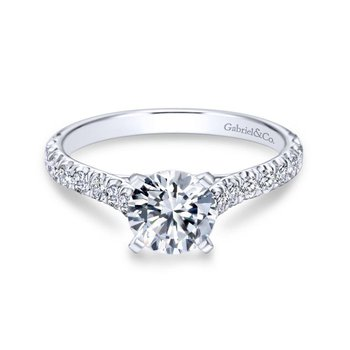 14k White Gold Diamond Straight Engagement Ring with Bold Pave Shank